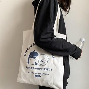森ガールキャンバスカバン通学ファンアート流行り 肩掛け大きめトートバッグ