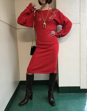 Vintage red knit dress ( ヴィンテージ  レッド ニットワンピース )