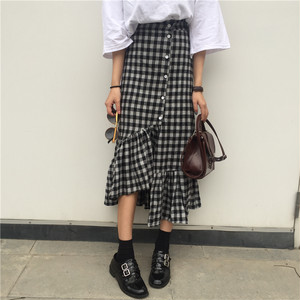 ★plaid patern fril skirts 3882