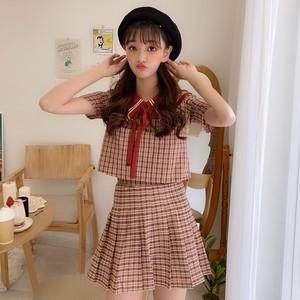 【セットアップ】2点セット韓系チェック柄トップス+おしゃれスカートセットアップ