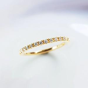 K18 ダイヤモンド0.18ct ハーフエタニティ リング【受注制作】