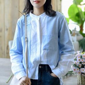 【トップス】切り替え ファッション ブルー 差し色 長袖 ストライプ柄  レディース シャツ42940737