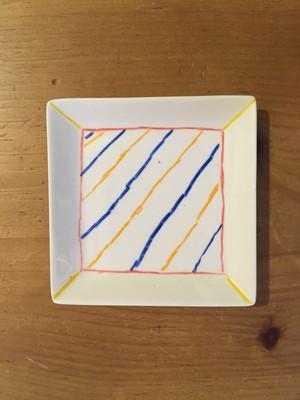 blueオリジナル角皿 ストライプ