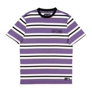 WELCOME Medius Stripe Yarn-Dyed Short Sleeve Knit - Purple