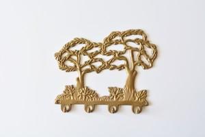 ヴィンテージ 木モチーフ 真鍮 鍵かけフック