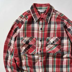 【Lサイズ】FIVEBROTHER ファイブブラザー FLANNEL CHECK SHIRTS 長袖シャツ RED レッド 400602190869