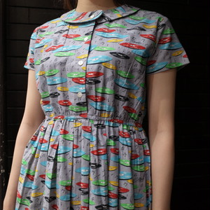 【EmeraldMotel 】Record  patterned dress レコード柄ワンピース