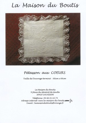 La Maison du Boutis メゾン・デュ・ブティのキット(型紙と説明書のみ)Pétasson aux coeurs ペタソン・オ・クール