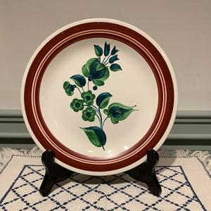 ハンガリー   GRANIT社 グリーンフラワー柄の飾り皿