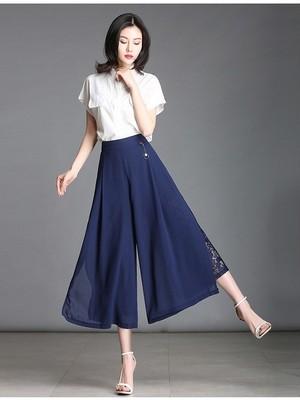 【bottoms】Slit loose lace casual wide leg pants