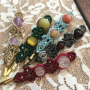 天然石のマクラメ編みヘアピン/長い花瓶