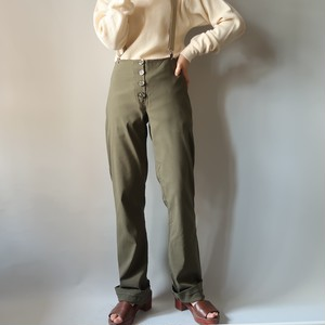 Front button stretch pants