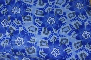 【訳あり商品】アフリカンバティック生地 Blue Flower