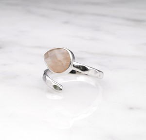 SINGLE STONE OPEN RING SILVER 018