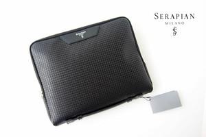 セラピアンミラノ|Serapian Milano|ハンドル付きクラッチバッグ|タブレットケース|PVC|ブラック