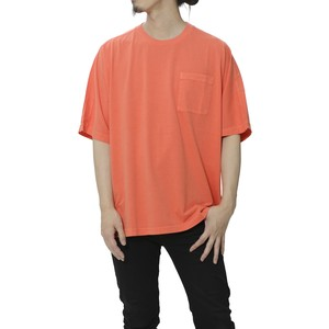 GARMENT DYED HALF SLEEVE BIG T-SHIRT - ORANGE