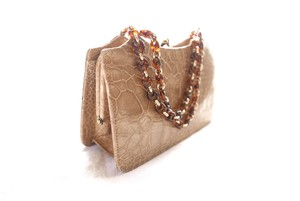 Italy Real Leather Hand Bag -Beige-