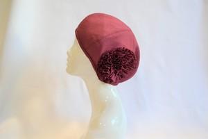 着物地お花ベレー帽:モーブピンク 着物リメイク/国内送料無料/1901b06