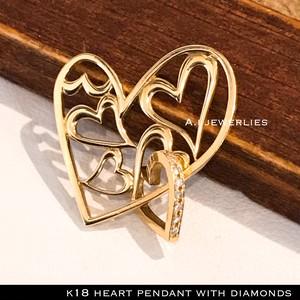 k18 ペンダント ハート 18金 天然 ダイアモンド ダブル ハート ペンダント / k18 open heart pendant with diamond