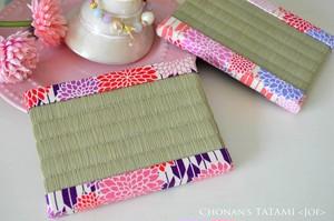 矢絣に菊(紫・い草)ミニ畳