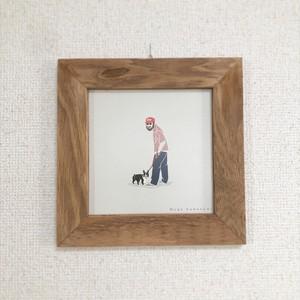 額装イラスト 犬とおじさん (額)COLORFULIFEオリジナル