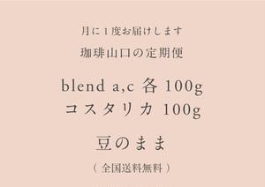 【定期便】blend a100g / blend c 100g / コスタリカ 100g  豆のまま(送料無料)