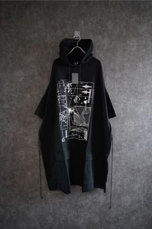 room13 Short Sleeve Long Sweat Parker Black