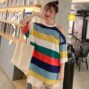 【トップス】カジュアル透かし彫り配色半袖Tシャツ