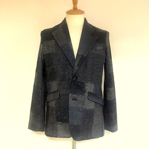 Shaggy Jersey Notched Lapel 2B Jacket Gray Mix