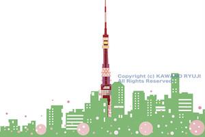 タワーの見える風景イラスト_(aIデータ)