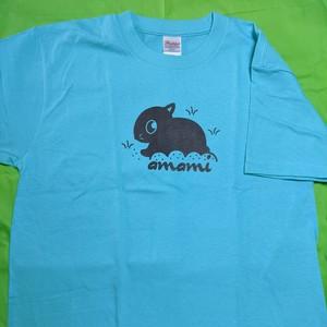 アマミノクロウサギTシャツ(アクアブルー)