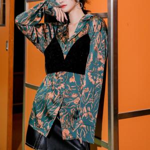 スモールキャミソール サテンシャツ ツーピース【R0464】