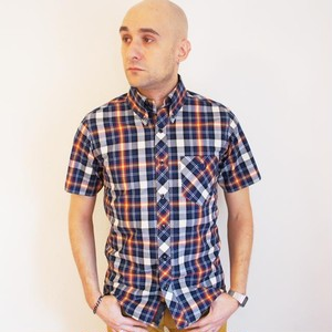 OVER CHECK  B.D. SS SHIRT   Navy / White / Wine