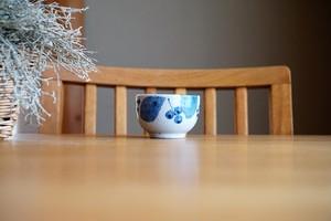 砥部焼/丸湯呑/ブルー木の葉/森陶房