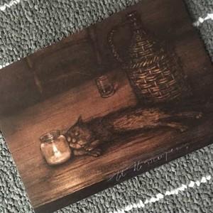 サイン入りポストカード<テーブルの上のねこ>