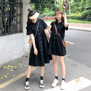 【ワンピース】無地シンプル春夏レトロ森ガール半袖折り襟カジュアルワンピース