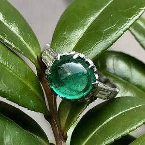 Emerald & Diamond Platinum Art Deco Ring