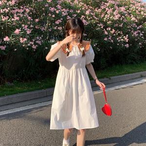 夏 スウィート オシャレ 襟 かわいい 半袖 カラーブロック ワンピース
