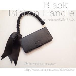 リボンハンドルケース  ブラック【iPhoneXs.X etc..】