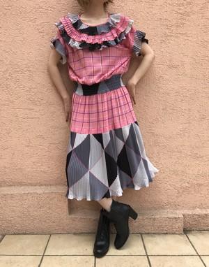 80s pink plaid dress