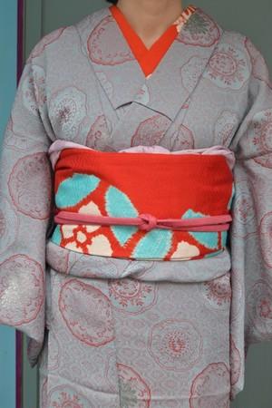 アンティーク着物☆ブルーグレーの膨れ織☆銅鏡