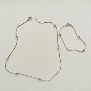 スネークチェーン+ボール ネックレス・ブレスレットのセット
