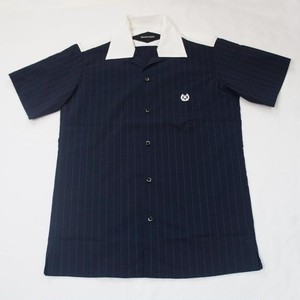 SEERSUCKER STRIPE ONE-UP COLLER  SS D.NAVY
