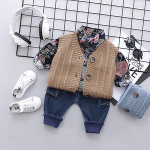 【セットアップ 】ハンサム花柄プリントシャツ無地ベストルーズパンツボーイズ3点セット24835064