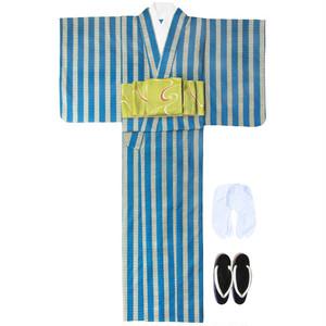 アフリカ布の浴衣 女物1 棒縞/ African Yukata for Women 1