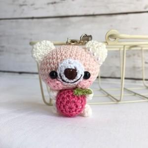 【受注生産】パッションピンク林檎・白ピンククマ*鈴付きイヤホンジャックストラップ