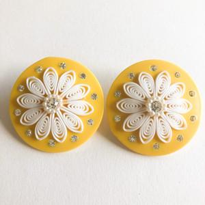 yellow & white flower earring[e-1366] ヴィンテージイヤリング