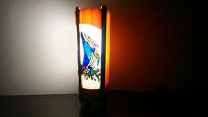 切り絵デザイン(鯨) 木と深山和紙の 青森ヒバ木製 デザインランプ   No.   040