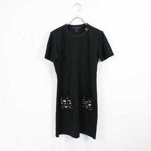 【美品】Louis Vuitton / ルイヴィトン | 襟モノグラム ビジューワンピース | XS | ブラック | レディース