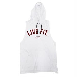 LIVE FIT.リブフィット Live Fit Cut Off Hoodie V2(フーディー)-  【White】 メーカー直輸入品!